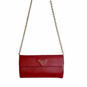 Authentic Prada Red Saffiano Wallet on chain